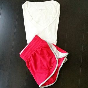 NIKE Running Shorts & White Tee